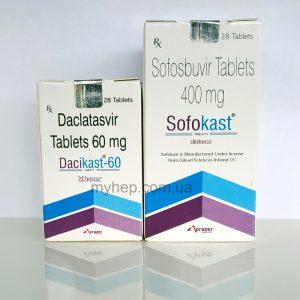 Sofokast  + Dacikast ,  софосбувир 400 мг + даклатасвир 60мг